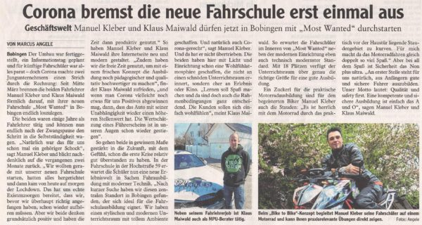 Zeitungsartikel über Fahrschule Most Wanted in Bobingen